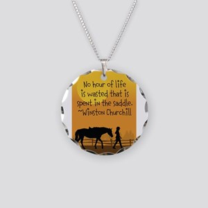 Horse and Child Necklace Circle Charm