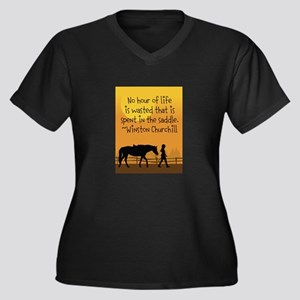 Horse and Child Women's Plus Size V-Neck Dark T-Sh