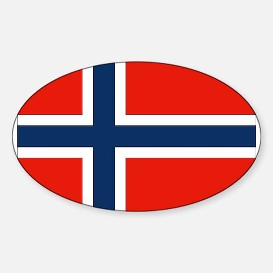 Norwegian Flag Oval Decal