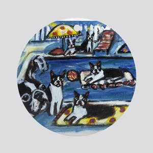 BOSTON TERRIER summer pool Ornament (Round)