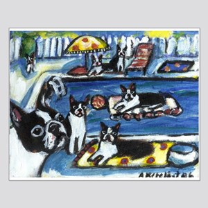 BOSTON TERRIER summer pool Small Poster