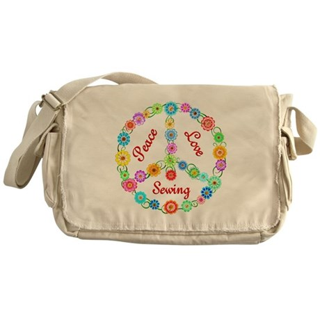 Sewing Peace Sign Messenger Bag