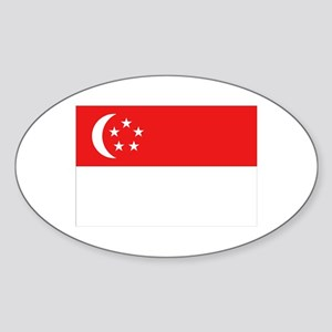 Singapore Flag Oval Sticker