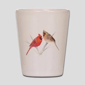 Northern Cardinal male & fema Shot Glass