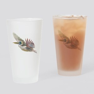 pelican flying Drinking Glass