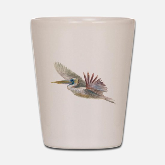 pelican flying Shot Glass