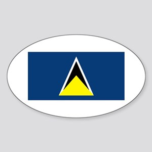 St Lucia Flag Oval Sticker