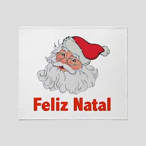 Santa Feliz Natal Throw Blanket
