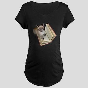 Kitten Book Maternity Dark T-Shirt