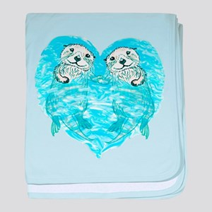 sea otters holding hands baby blanket