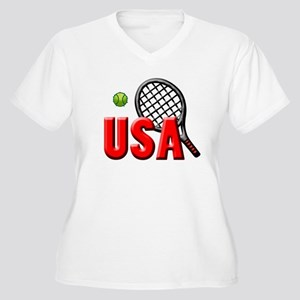USA Tennis(3) Women's Plus Size V-Neck T-Shirt