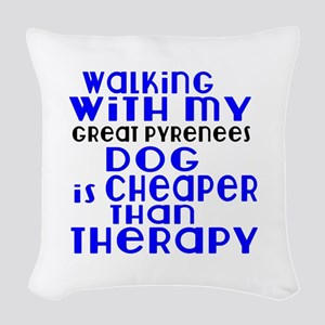 Walking With My Great Pyrenees Woven Throw Pillow