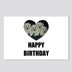 HAPPY BIRTHDAY BICHON PUPPIES Postcards (Package o