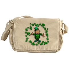 Leprechaun with Shamrocks Messenger Bag