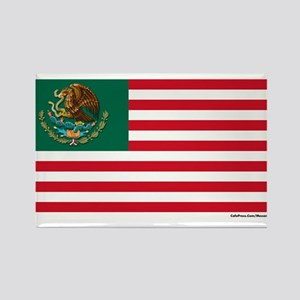 Mexican American Flag Rectangle Magnet