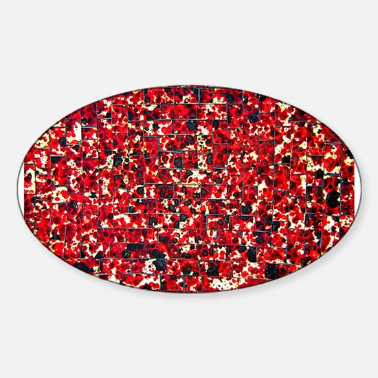 Balinese Glass Tile Art-RED Sticker (Oval)