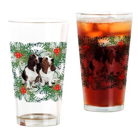 Basset Hound Christmas Drinking Glass