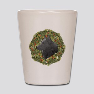 Schipperke Xmas Wreath Shot Glass