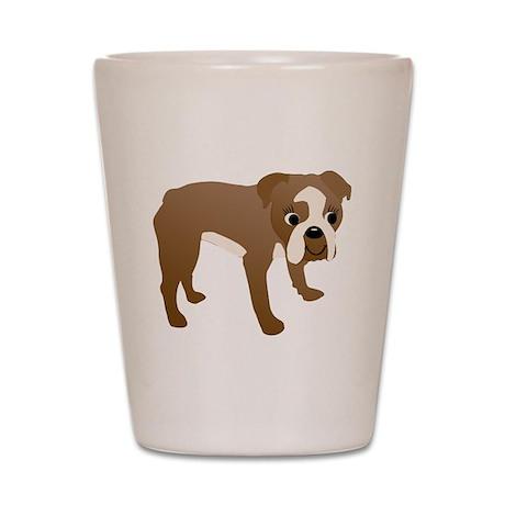 Cartoon Bulldog v2 Shot Glass