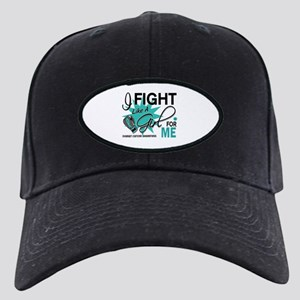 Fight Like a Girl For My Ovarian Cancer Black Cap