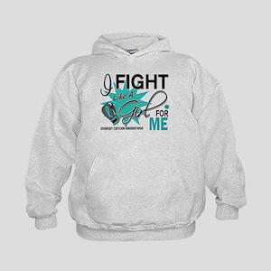 Fight Like a Girl For My Ovarian Cancer Kids Hoodi