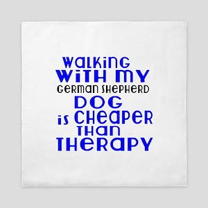 Walking With My German Shepherd Dog Queen Duvet