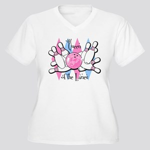 Queen of the Lanes Women's Plus Size V-Neck T-Shir
