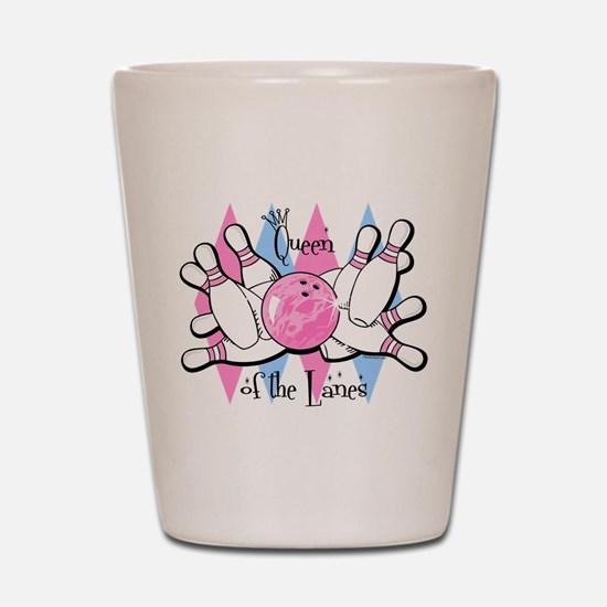 Queen of the Lanes Shot Glass