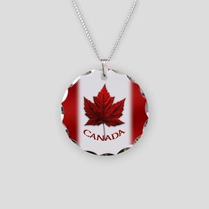 Canada Flag Souvenir Necklace Circle Charm