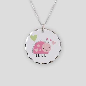 Pink Ladybug Necklace Circle Charm