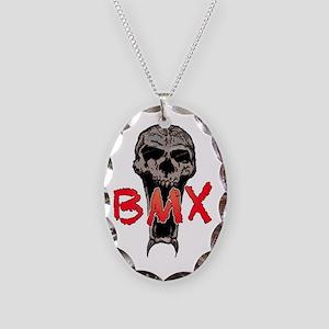BMX skull Necklace Oval Charm