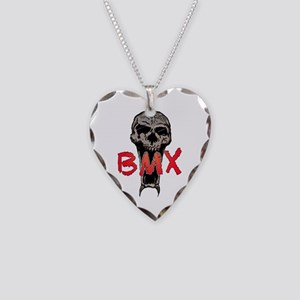 BMX skull Necklace Heart Charm