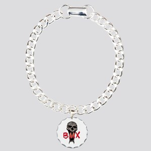 BMX skull Charm Bracelet, One Charm