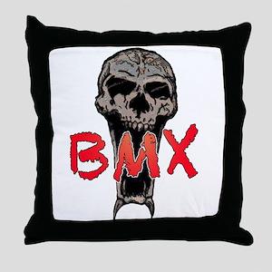 BMX skull Throw Pillow