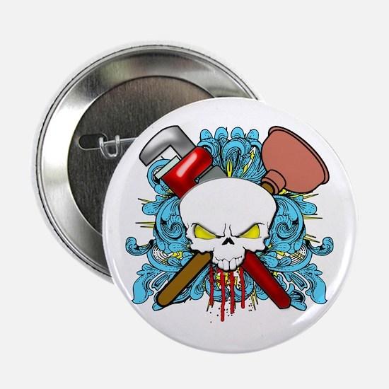 """Plumber Skull 2.25"""" Button"""