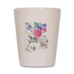 Flowers and Butterfly Shot Glass