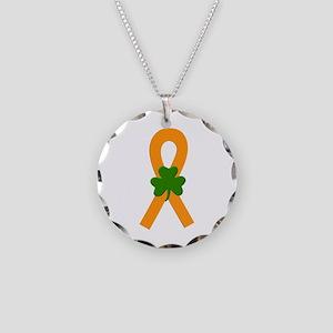 Orange Shamrock Ribbon Necklace Circle Charm