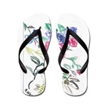 Flowers and Butterfly Flip Flops