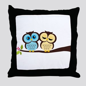 Lovely Owl Couple Throw Pillow