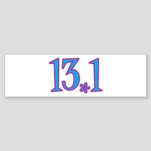 13.1 pink blue flower Sticker (Bumper)