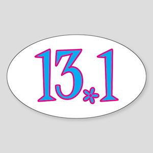 13.1 pink blue flower Sticker (Oval)