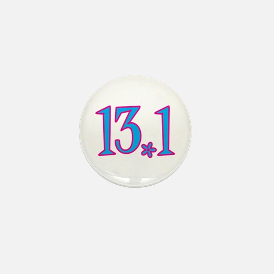 13.1 pink blue flower Mini Button