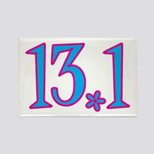 13.1 pink blue flower Rectangle Magnet