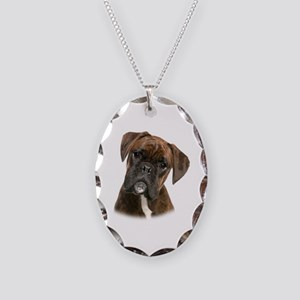 Brindle Boxer Necklace Oval Charm