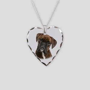 Brindle Boxer Necklace Heart Charm