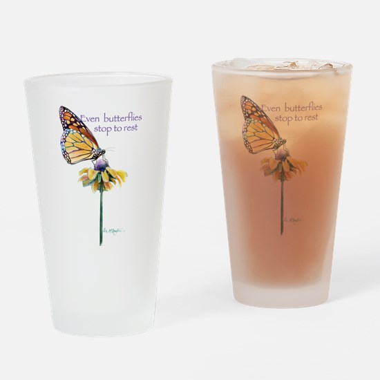 Monarch butterfly resting Drinking Glass