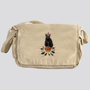 Black Cat Birthday Rats Messenger Bag
