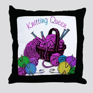 Knitting Queen Throw Pillow