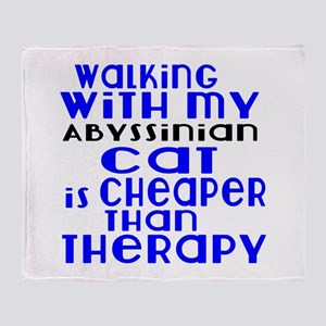 Walking With My Abyssinian Cat Throw Blanket