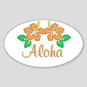 "Orange ""Aloha"" Hawaiian Flowe Oval Sticker"